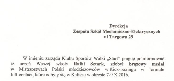 Medal dla Rafała Sztark w Kick – boxingu